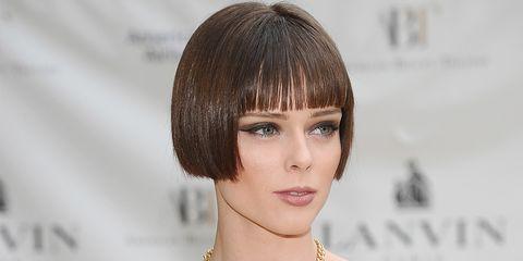 Lip, Strapless dress, Hairstyle, Shoulder, Eyelash, Red, Bangs, Style, Dress, Beauty,