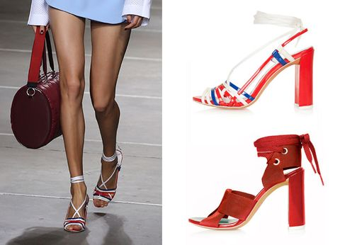 Footwear, High heels, Brown, Red, Joint, Human leg, White, Sandal, Style, Carmine,