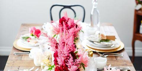 Serveware, Dishware, Furniture, Table, Tableware, Pink, Linens, Tablecloth, Centrepiece, Petal,