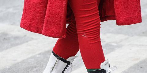 Human leg, Textile, Joint, White, Red, Carmine, Street fashion, Foot, Ankle, Fur,