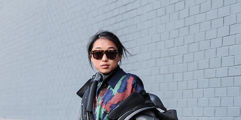 Clothing, Sunglasses, Textile, Bag, Joint, Outerwear, Street fashion, Style, Fashion accessory, Luggage and bags,