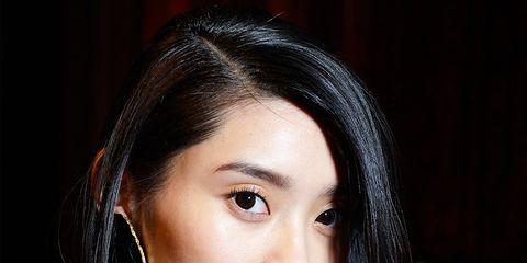 Lip, Hairstyle, Forehead, Eyebrow, Eyelash, Black hair, Beauty, Long hair, Flash photography, Street fashion,