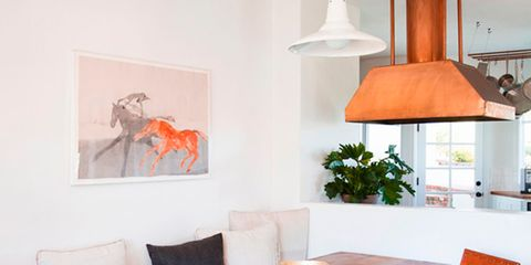 Room, Wood, Interior design, Floor, Furniture, Table, Flooring, Orange, Chair, Lampshade,