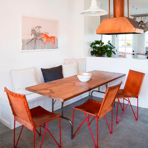Room, Wood, Interior design, Floor, Furniture, Table, Flooring, Orange, Chair, Lampshade,