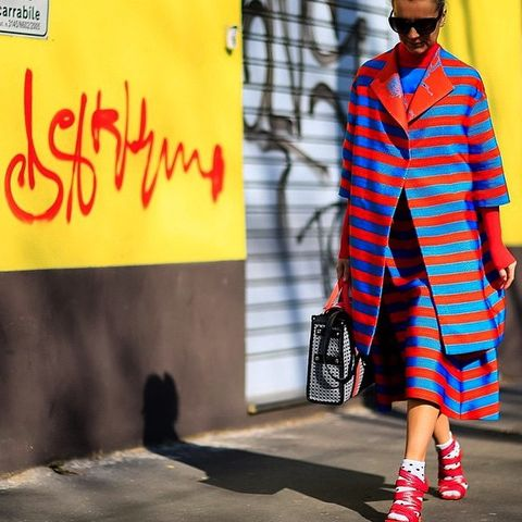 Clothing, Textile, Outerwear, Red, Bag, Style, Street fashion, Pattern, Orange, Fashion accessory,