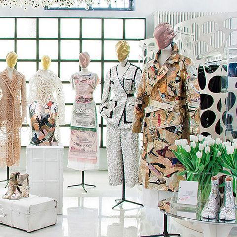 Military person, Retail, Flowerpot, Military uniform, Mannequin, Fashion design, Collection, Houseplant, Natural material, Display window,