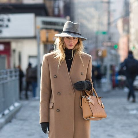 Clothing, Brown, Hat, Sleeve, Coat, Outerwear, Bag, Fashion accessory, Street fashion, Style,