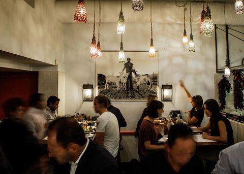Event, Restaurant, Crowd, Interior design, Chandelier, Building,
