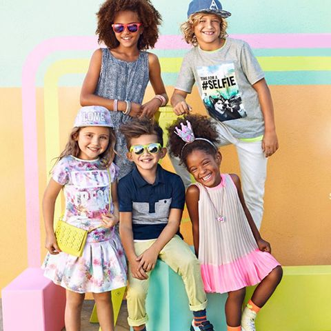 Clothing, Face, Smile, Trousers, Happy, Pink, Child, Style, T-shirt, Summer,