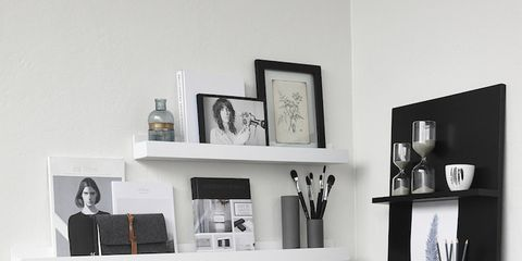 Shelving, Wall, Interior design, Collection, Shelf, Grey, Picture frame, Still life photography,