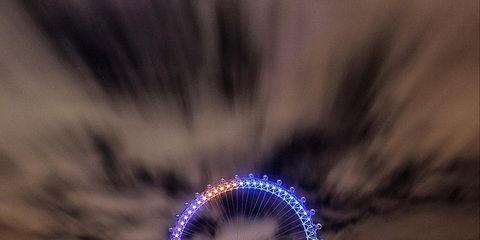 Night, Nature, Ferris wheel, Blue, Urban area, Metropolis, City, Metropolitan area, Reflection, Purple,