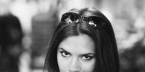 Eyewear, Vision care, Lip, Hairstyle, Sunglasses, White, Goggles, Style, T-shirt, Black hair,