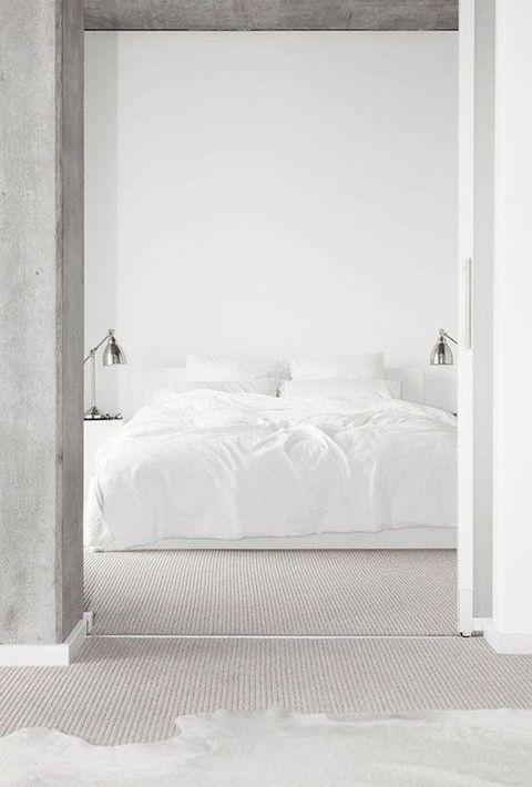 Bed, Bedroom, Furniture, White, Room, Bed frame, Bed sheet, Mattress, Wall, Door,