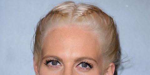 Hair, Face, Blond, Hairstyle, Lip, Eyebrow, Chin, Beauty, Forehead, Long hair,