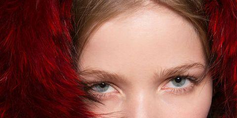 Lip, Finger, Hairstyle, Eyebrow, Red, Eyelash, Beauty, Organ, Nail, Red hair,