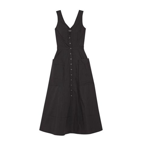 Clothing, Sleeve, Dress, Collar, Textile, One-piece garment, Formal wear, Pattern, Day dress, Black,
