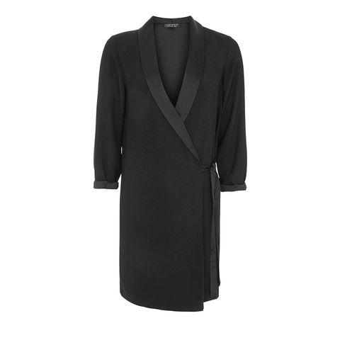 Clothing, Black, Outerwear, Sleeve, Dress, Robe, Coat, Formal wear, Neck, Little black dress,