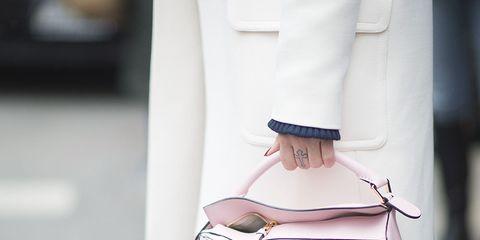 Textile, Bag, White, Style, Collar, Blazer, Shoulder bag, Fashion, Tan, Luggage and bags,