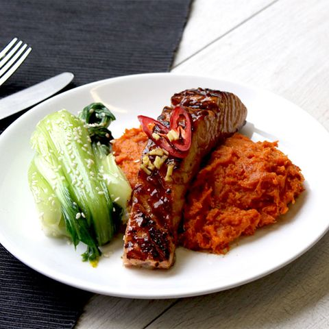 Food, Dishware, Cuisine, Dish, Plate, Tableware, Meat, Kitchen utensil, Ingredient, Leaf vegetable,
