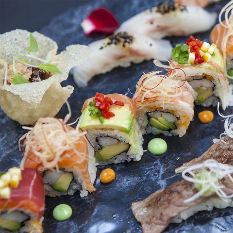 Cuisine, Food, Ingredient, Sushi, Dish, Finger food, Recipe, Garnish, Meal, Culinary art,