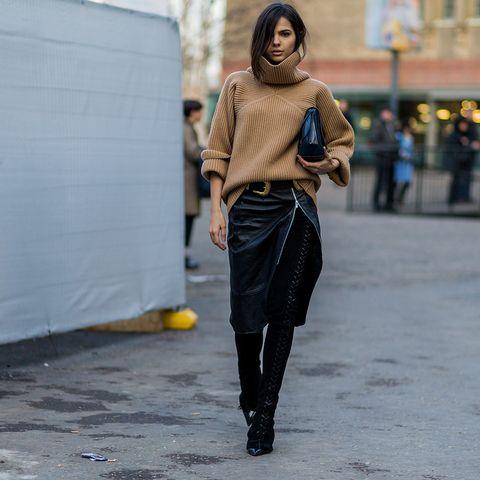 Road, Textile, Outerwear, Street, Style, Street fashion, Waist, Bag, Scarf, Pedestrian,