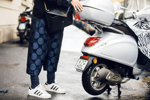 Scooter, Street fashion, Vehicle, Automotive design, Mode of transport, Fashion, Footwear, Vespa, Car, Street,