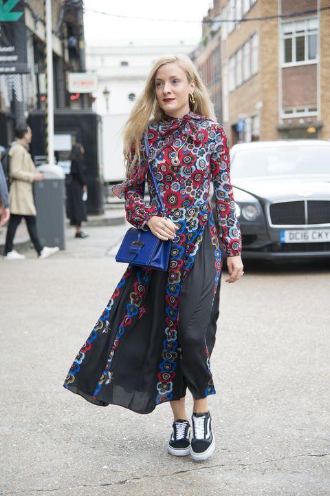 Clothing, Street fashion, Fashion, Footwear, Dress, Outerwear, Snapshot, Shoe, Electric blue, Design,