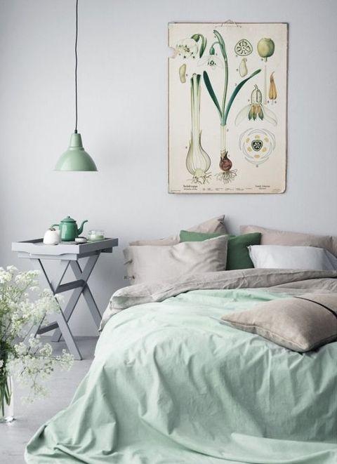 Bed, Green, Room, Interior design, Textile, Bedding, Wall, Bedroom, Bed sheet, Teal,