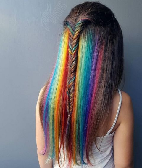 Hairstyle, Shoulder, Pink, Style, Magenta, Colorfulness, Long hair, Teal, Violet, Hair coloring,
