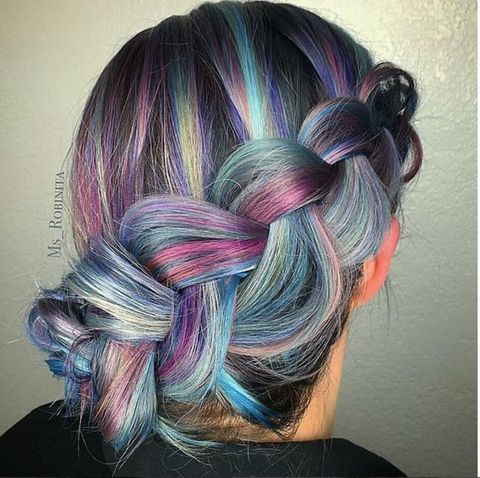 Hairstyle, Violet, Purple, Magenta, Style, Lavender, Beauty, Grey, Pattern, Braid,