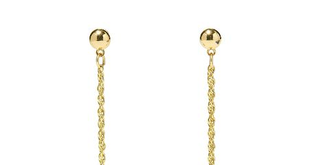 Earrings, Metal, Jewellery, Brass, Natural material, Beige, Chain, Body jewelry, Circle, Gold,