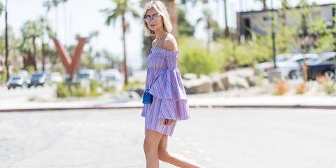 Human leg, Dress, Summer, Street fashion, Electric blue, Lavender, Day dress, One-piece garment, Waist, Calf,
