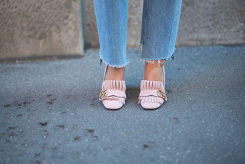 Human, Blue, Human leg, Joint, Denim, Street fashion, Nail, Foot, Toe, Nail care,