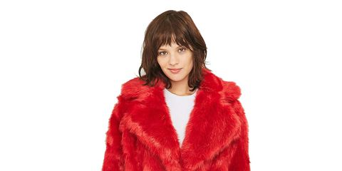 Sleeve, Shoulder, Collar, Textile, Joint, Standing, Red, Jacket, Fur clothing, Fashion,