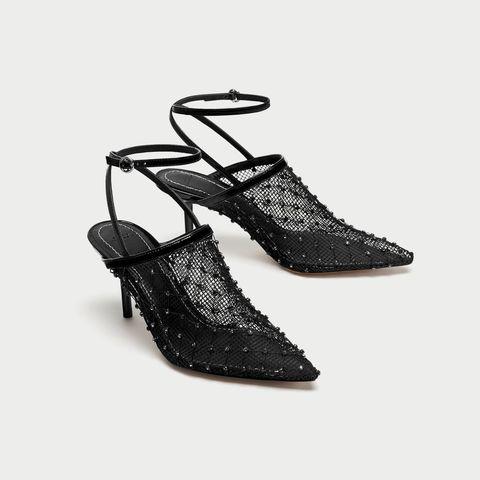 Footwear, Black, Shoe, Slingback, Font, Sandal, Dancing shoe, Glitter, Beige, Fashion accessory,