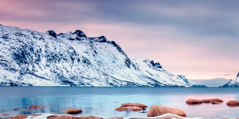 Body of water, Natural landscape, Mountainous landforms, Landscape, Mountain range, Highland, Mountain, Winter, Glacial lake, Wilderness,