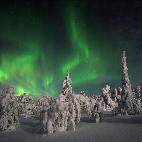 Aurora, Green, Atmosphere, Atmospheric phenomenon, Night, Space, Freezing, Snow, Wind, Star,
