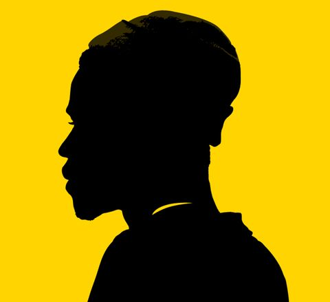 Human, Yellow, Chin, Black hair, Silhouette, Backlighting, Illustration, Painting, Graphics,