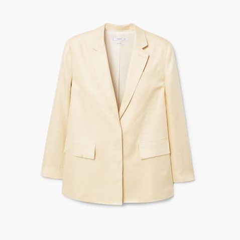Clothing, Outerwear, Blazer, Jacket, Beige, Yellow, Sleeve, Formal wear, Top, Suit,