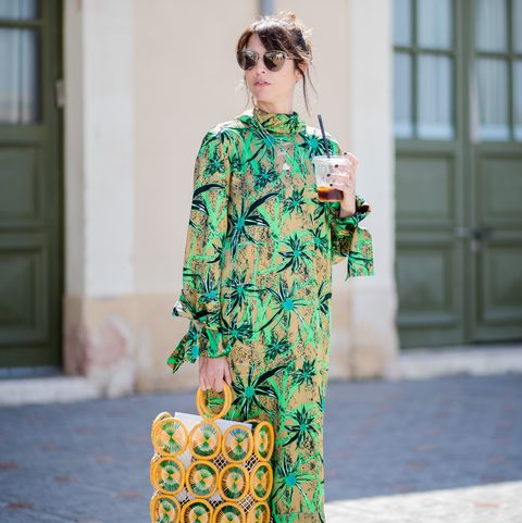 Clothing, Green, Dress, Sleeve, Fashion, Fashion model, Outerwear, Pattern, Shoulder, Fashion design,