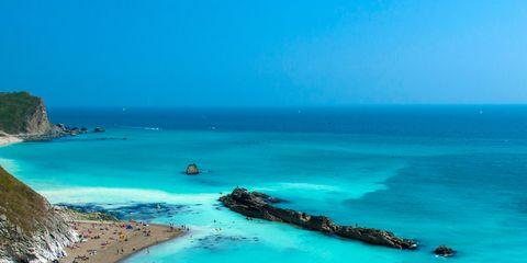 Body of water, Coastal and oceanic landforms, Coast, Shore, Natural landscape, Aqua, Ocean, Turquoise, Beach, Sea,