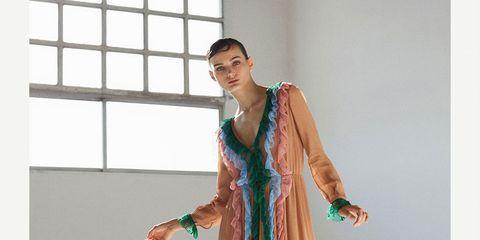 Clothing, Dress, Formal wear, Turquoise, Fashion model, Fashion, Neck, Gown, Fashion design, Shoulder,