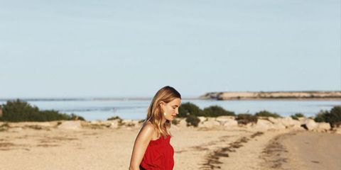 People in nature, Photograph, Dress, Clothing, Red, Beauty, Summer, Photo shoot, Beach, Fashion,