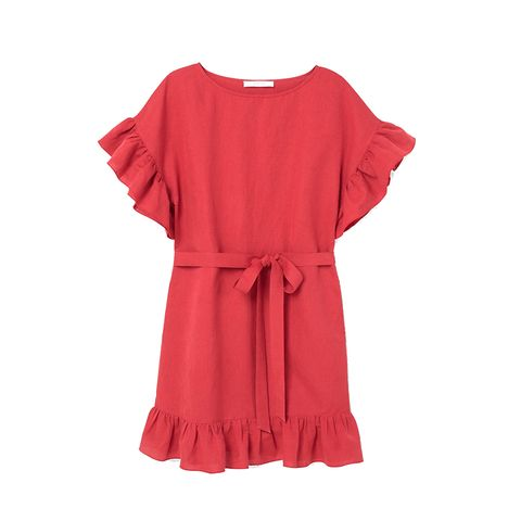 Clothing, Red, Sleeve, Dress, Pink, Day dress, Ruffle, Neck, Textile, Blouse,