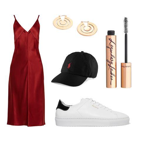Clothing, White, Red, Footwear, Dress, Fashion, Shoe, Little black dress, Formal wear, Uniform,