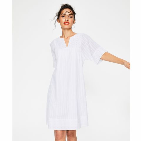 white smock summer dress