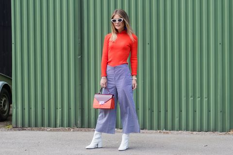 Clothing, Street fashion, Orange, Fashion, Jeans, Denim, Waist, Footwear, Trousers, Outerwear,