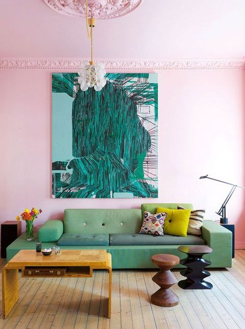 Living room, Room, Furniture, Green, Turquoise, Interior design, Aqua, Property, Yellow, Couch,