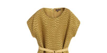 Product, Yellow, Sleeve, Textile, Dress, Pattern, One-piece garment, Fashion, Beige, Tan,