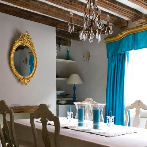 Blue, Interior design, Room, Teal, Furniture, Turquoise, Interior design, Aqua, Ceiling, Curtain,